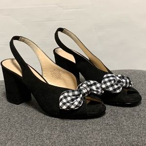 Nine West Black Gingham Bow Slingback Heel